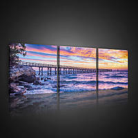 Модульная картина на холсте 3x25x25 см Закат над морем (PS10514S13) Лучшее качество