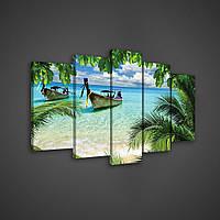 Модульная картина на холсте 2x20x40 см, 2x20x50 см, 1x20x60 см Море сквозь джунгли (PS162S17) Лучшее качество