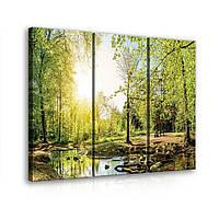 Модульная картина на холсте 3x30x80 см Зеленый лес (PS10508S6) Лучшее качество