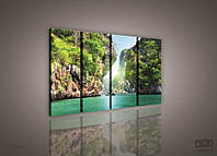 Модульная картина на холсте 4x30x80 см Море среди скал (PS132S7) Лучшее качество