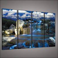 Модульная картина на холсте 4x30x80 см Синий водопад (PS1520S7) Лучшее качество