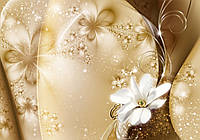 Фотообои флизелиновые цветы 3D 312x219 см Золотая пыль и лилия (3331VEXXL) Лучшее качество