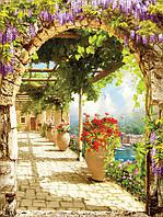 Фотообои 3D 184x254 см Цветочная терраса с аркой 11424P4A Лучшее качество