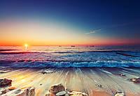 Фотошпалери 3D 368x254 см Захід на морському пляжі 12623P8 Найкраща якість