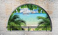 Фотообои 3D 368x254 см Корабли за аркой 2842P8 Лучшее качество