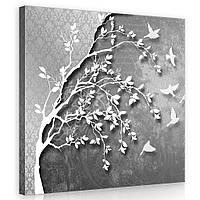Картина на холсте 80х80 см Серый фон и птицы (PP10231O2) Лучшее качество