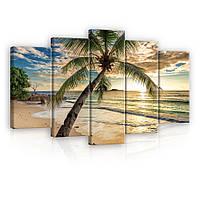 Модульная картина на холсте 2x20x40 см, 2x20x50 см, 1x20x60 см Пальма на пляже (PS11732S17) Лучшее качество