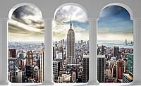 Фотообои флизелиновые 3D 416х254 см Вид на город Нью Йорк через колоны (2345VEXXXL) Лучшее качество