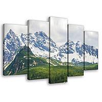 Модульная картина на холсте 2x20x40 см, 2x20x50 см, 1x20x60 см Живописные горы Татры (PS10507S17) Лучшее