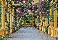Фотообои флизелиновые 3D 254x184 см Терраса с цветами (10896V4) Лучшее качество