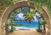 Фотообои флизелиновые 3D 416 x 254 см Вид на море через арку (11554VEXXXL) Лучшее качество