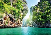 Фотошпалери 3D море 368x254 см Серед скель (137P8) Найкраща якість