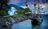 Фотошпалери 3D 368x254 см Піратський корабель і скарб (2051P8) Найкраща якість