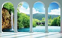 Фотообои флизелиновые 3D 368х254 см Природа лес - водопад за аркой (2353V8) Лучшее качество