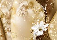 Фотообои флизелиновые 3D цветы 368x254 см Золотая пыль и лилия (3331V8) Лучшее качество
