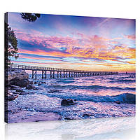 Картина на холсте 100х75 см Розовый закат над морем (PP10514O1) Лучшее качество