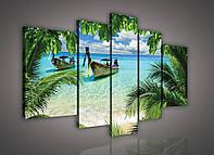 Модульная картина на холсте 2x40x60 см, 2x30x80 см, 1x30x100 см Море сквозь джунгли (PS162S18) Лучшее качество