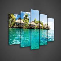 Модульная картина на холсте 2x20x40 см, 2x20x50 см, 1x20x60 см Бунгало на берегу моря (PS161S17) Лучшее