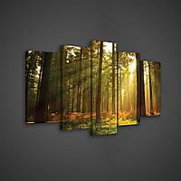 Модульная картина на холсте 2x20x40 см, 2x20x50 см, 1x20x60 см Солнечный лес (PS204S17) Лучшее качество