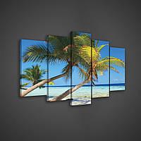 Модульная картина на холсте 2x40x60 см, 2x30x80 см, 1x30x100 см Пальмы и море (PS143S18) Лучшее качество