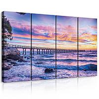 Модульная картина на холсте 4x30x80 см Закат над морем (PS10514S7) Лучшее качество