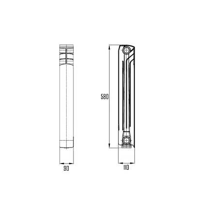 Радиатор биметаллический Thermo Alliance Bi-Vulcan Duo 500/110, фото 2