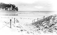Фотошпалери флізелінові морі 368х254 см Чорно білий пляж (2283V8) Найкраща якість