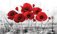 Фотошпалери флізелінові квіти 3D 312x219 см Червоні маки на сірому фоні (2254VEXXL) Найкраща якість