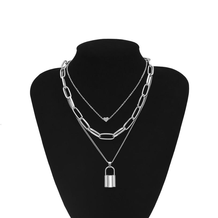 Многослойная женская цепочка с подвесками замок и сердце код 1832 1436772492