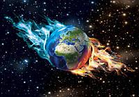 Фотошпалери 3D космос 368x254 см Земля в полум'я (3749P8) Найкраща якість