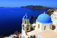 Фотошпалери флізелінові 3D місто 375х250 см Вид на море з острова Санторіні (MS-5-0199) Найкраща якість