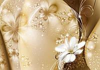 Фотообои флизелиновые цветы 3D 416x254 см Золотая пыль и лилия (3331VEXXXL) Лучшее качество