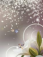 Фотообои флизелиновые цветы 206х275 см Лилии и золотая пыль (3055VEA) Лучшее качество