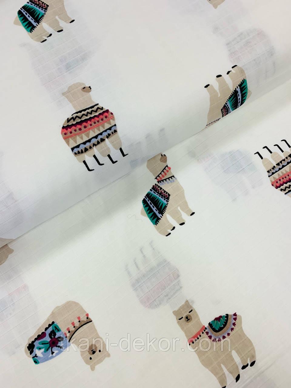 Муслін (бавовняна тканина) лами на білому (ширина 1,55 м)