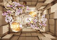 Фотообои 3D цветы 254x184 см Туннель с шарами и ветками вишни (3347P4) Лучшее качество