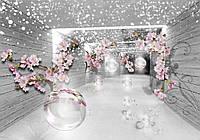 Фотообои цветы флизелиновые 3D 416x254 см Серые стены и ветки вишни (3360VEXXXL) Лучшее качество