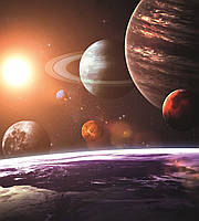 Фотошпалери флізелінові 3D Космос 225х250 см Сонячна система (MS-3-0188) Найкраща якість