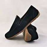 Мужские мокасины. Летние туфли. Чёрные туфли в сеточку, фото 2