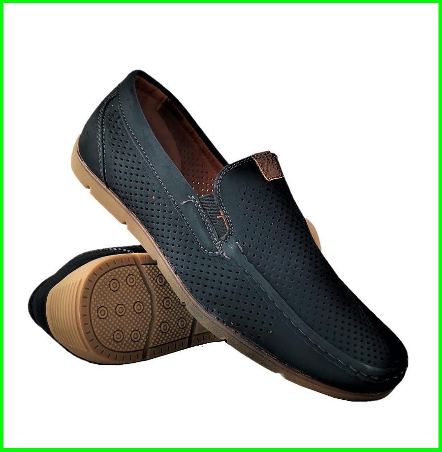Мужские мокасины. Летние туфли. Чёрные туфли в сеточку