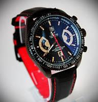 Мужские часы Carrera TAGHEUER механические черный корпус и ремешок циферблат черный автоспорт