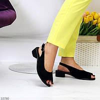 """Жіночі замшеві босоніжки на низькому ходу Чорні """"Tena"""", фото 1"""