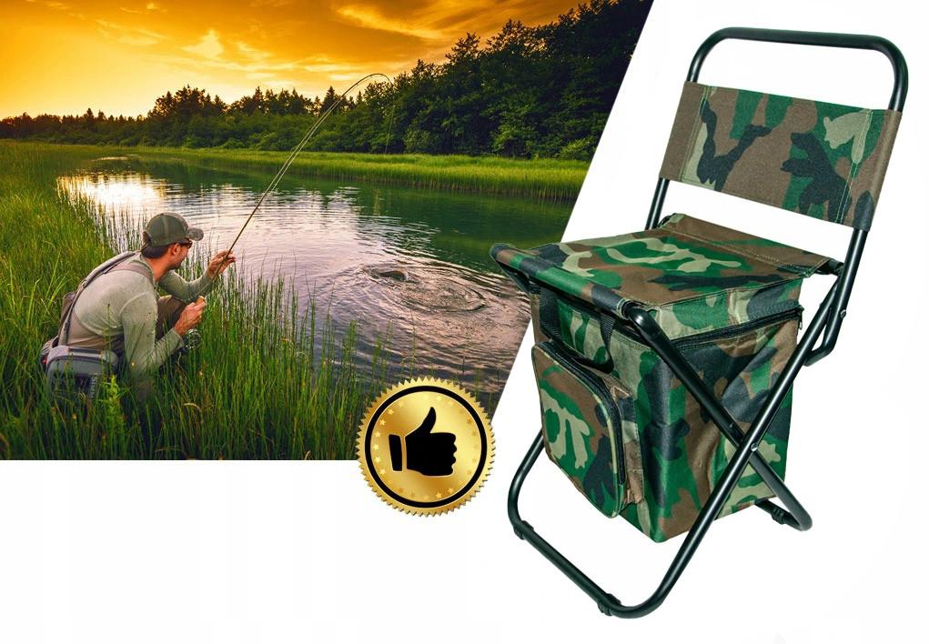 Розкладний стілець для риболовлі з термосумкой колір хакі, складаний туристичний стільчик | стул раскладной