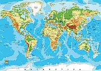 Фотообои виниловые 368x254 см Географическая карта мира (10250W8) Лучшее качество