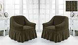 Комплект Чехлов на 2 кресла с юбкой Жатка универсальные натяжные Цвет Темно - Фиолетовый Турция, фото 5