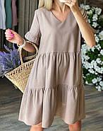 Стильное легкое платье  с коротким рукавом свободного кроя, фото 2