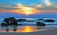 Фотообои виниловые 3D 368х254 см Закат на море (170W8) Лучшее качество