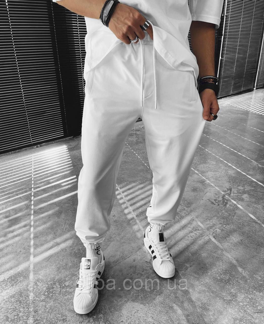 Белые спортивные штаны с принтом 23 | Турция | хлопок + полиэстер + эластан