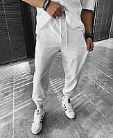 Белые спортивные штаны с принтом 23 | Турция | хлопок + полиэстер + эластан, фото 1