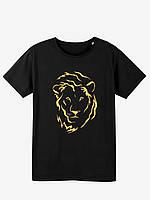 Чоловіча футболка чорного кольору з золотим принтом ЛЕВ