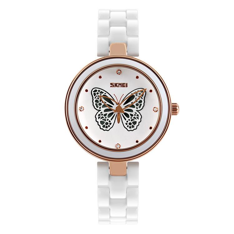 Skmei 9131 белые женские часы с оригинальными вставками